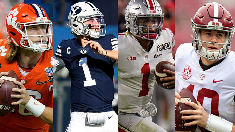 NFL draft prospect quarterbacks, from left to right: Trevor Lawrence, Zach Wilson, Justin Fields and Mac Jones.