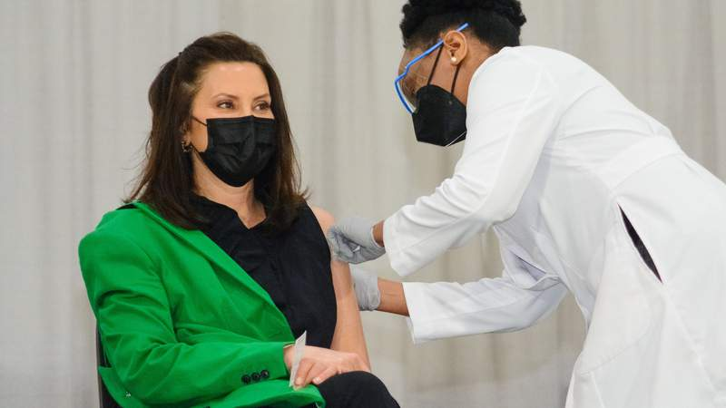 Governor Gretchen Whitmer received a second dose of the Pfizer-BioNTech vaccine on April 29, 2021.