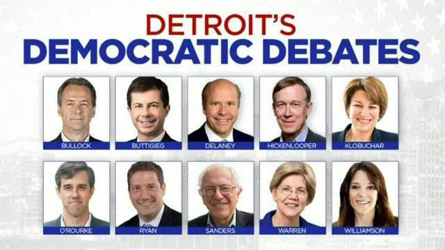 The lineup for the Democratic presidential candidates debate July 30, 2019 in Detroit. (WDIV)
