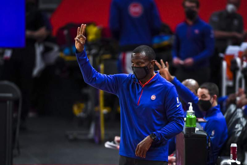DETROIT, MICHIGAN - MAY 06: Head coach Dwane Casey of the Detroit Pistons signals during the first quarter against the Memphis Grizzlies at Little Caesars Arena on May 06, 2021 in Detroit, Michigan. NOTE TO USER: User expressly acknowledges and agrees that, by downloading and or using this photograph, User is consenting to the terms and conditions of the Getty Images License Agreement. (Photo by Nic Antaya/Getty Images)