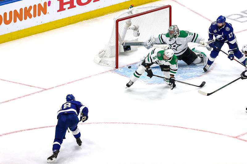 EDMONTON, ALBERTA - SEPTEMBER 21:  Ondrej Palat #18 of the Tampa Bay Lightning scores a goal past Anton Khudobin #35 of the Dallas Stars during the first period in Game Two of the 2020 NHL Stanley Cup Final at Rogers Place on September 21, 2020 in Edmonton, Alberta, Canada. (Photo by Bruce Bennett/Getty Images)