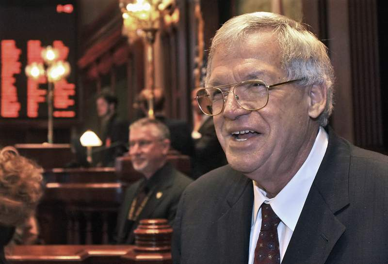 FILE - This March 5, 2008 file photo shows former U.S. House Speaker Dennis Hastert on the Illinois House of Representatives floor at the state capitol in Springfield, Ill. A man who sued Hastert for refusing to pay him $1.8 million in exchange for his silence about Hastert's sexual abuse of him decades ago will be named in court if the case goes to trial, a judge ruled on Thursday, Sept. 9, 2021. (AP Photo/Seth Perlman, File)