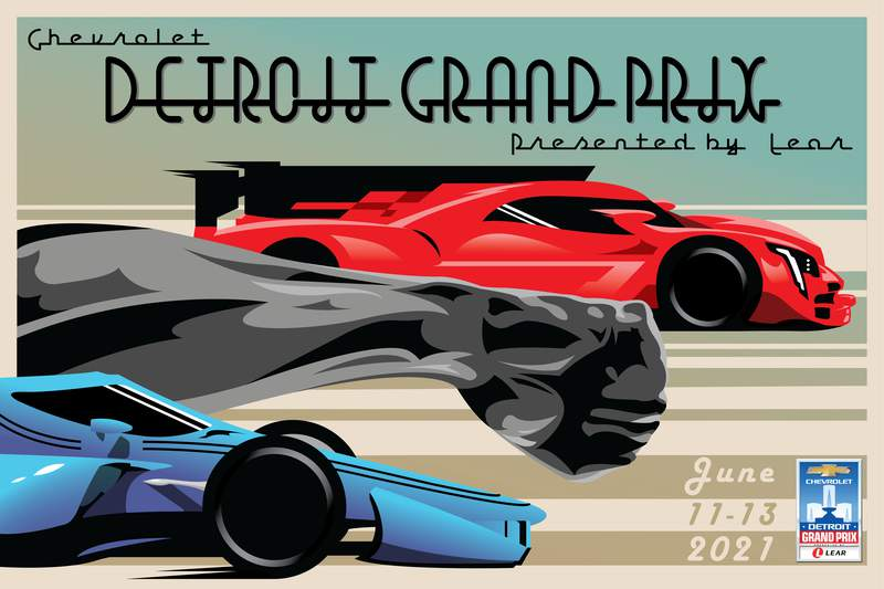 2021 Detroit Grand Prix Poster Competition. Poster created by Alec Porter.