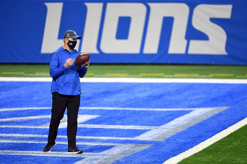 Detroit Lions interim head coach Darrell Bevell stands in the end zone before the game against the Green Bay Packers at Ford Field on December 13, 2020 in Detroit, Michigan.