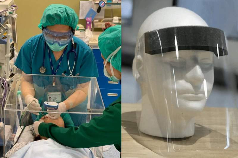 Examples of intubation boxes and face shields.