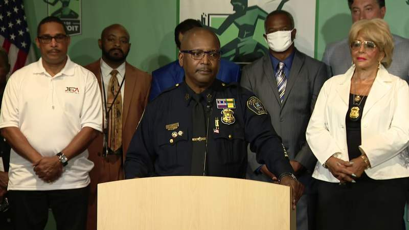 James White at an Aug. 23, 2021, press conference, during which Mayor Mike Duggan named him as his selection for permanent Detroit police chief.