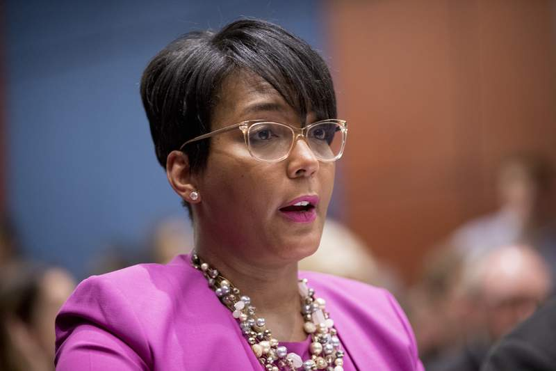 FILE - In this July 17, 2019, file photo, Atlanta Mayor Keisha Lance Bottoms speaks during a Senate Democrats' Special Committee on the Climate Crisis on Capitol Hill in Washington. Atlanta Mayor Keisha Lance Bottoms announced Thursday, May 6, 2021 she will not seek a second term, an election-year surprise that marks a sharp turnabout for the citys second Black woman executive who months ago was among those President Joe Biden considered for his running mate. (AP Photo/Andrew Harnik, File)