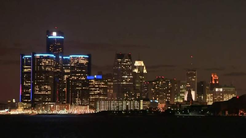 View of Detroit skyline on April 14, 2020.
