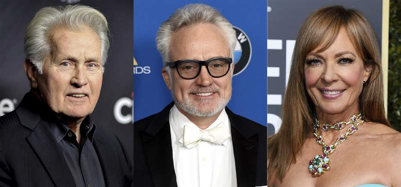 """This combination photo shows the cast of the award-winning White House television drama. """"The West Wing"""", from left, Martin Sheen, Bradley Whitford and Allison Janney who will take part in a book project called Whats Next: A Citizens Guide to The West Wing, organized by actors Melissa Fitzgerald and Mary McCormack, (AP Photo)"""
