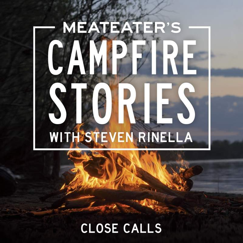 """This image released by Penguin Random House Audio shows art for the audio original """"MeatEaters Campfire Stories: Close Calls"""" hosted by Steven Rinella. (Penguin Random House Audio via AP)"""