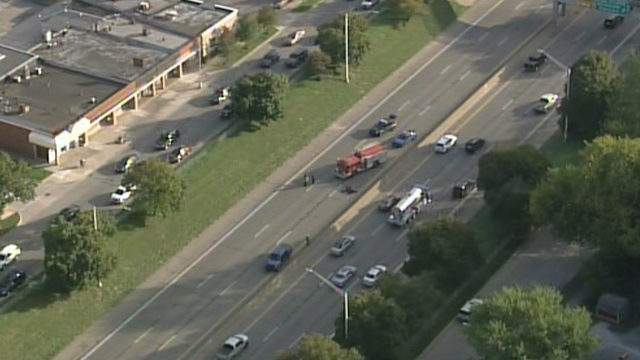 The scene of a motorcycle crash on I-94 on Oct. 7, 2019. (WDIV)