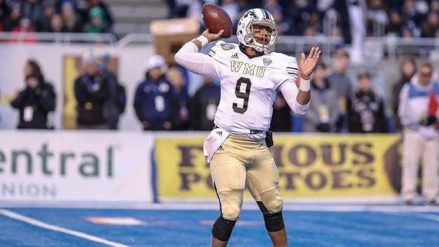 Quarterback Kaleb Eleby #9 of the Western Michigan Broncos throws a pass during second half action against the BYU Cougars at the Famous Idaho Potato Bowl on December 21, 2018 at Albertsons Stadium in Boise, Idaho. BYU won the game 49-18. (Photo by Loren Orr/Getty Images)