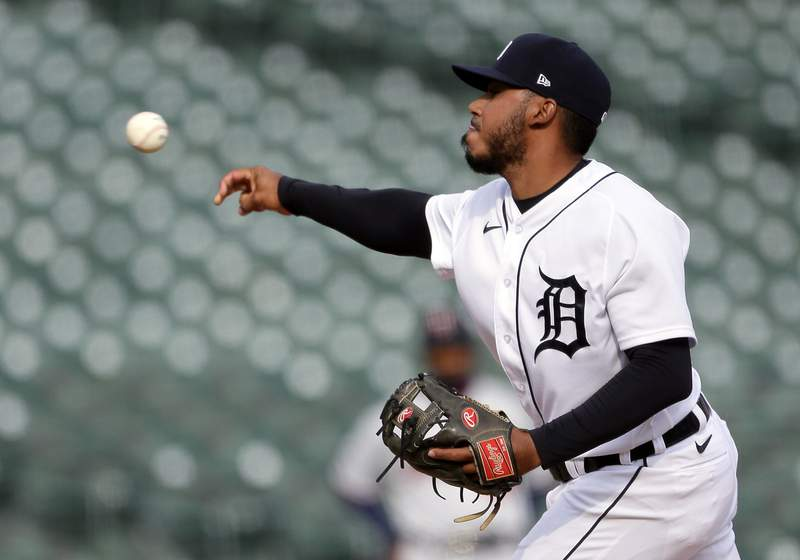 Infielder Harold Castro #30 of the Detroit Tigers pitches against the Minnesota Twins during the ninth inning at Comerica Park on April 5, 2021, in Detroit, Michigan. The Twins defeated the Tigers 15-6.