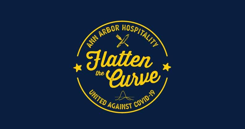 The 'Flatten the Curve' design on Underground Printing's Ann Arbor Hospitality Fundraiser T-shirts.