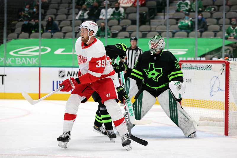 DALLAS, TEXAS - JANUARY 28:  Anthony Mantha #39 of the Detroit Red Wings during play against the Dallas Stars in the first period at American Airlines Center on January 28, 2021 in Dallas, Texas. (Photo by Ronald Martinez/Getty Images)