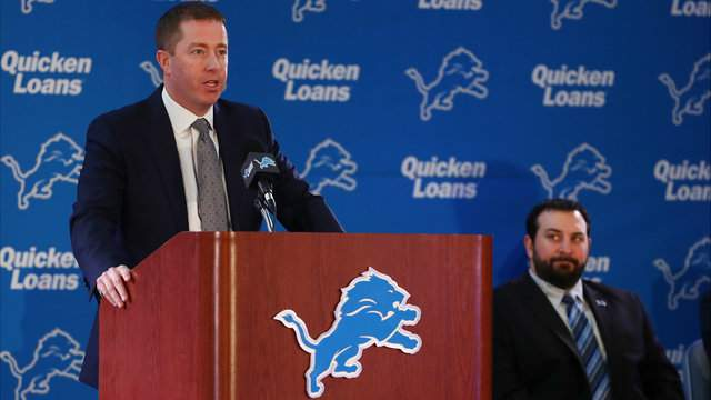 Bob Quinn General Manager of the Detroit Lions introduces Matt Patricia as the Lions new head coach at the Detroit Lions Practice Facility on February 7, 2018 in Allen Park, Michigan. (Gregory Shamus/Getty Images)