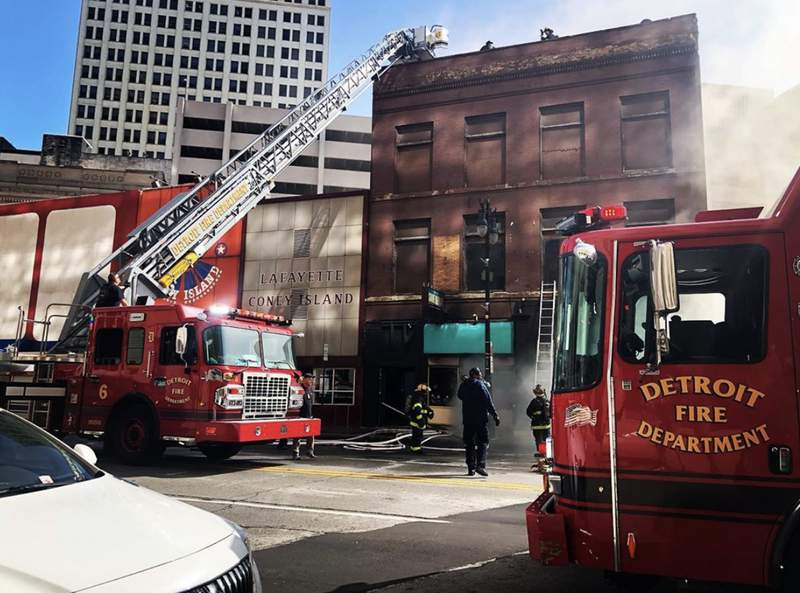 Fire in Downtown Detroit building on Sept. 17, 2020.