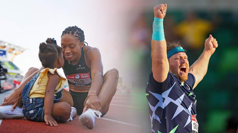 L-R: EUGENE, OREGON - JUNE 18, 20: Allyson Felix celebrates with her daughter Camryn after finishing second in the Women's 400 Meters Final on day three; Ryan Crouser celebrates in the Men's Shot Put final after throwing for a world record of 23.37 meters during day one of the 2020 U.S. Olympic Track & Field Team Trials at Hayward Field on June 18 and 20, 2021 in Eugene, Oregon.
