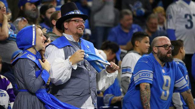 Detroit Lions fans dress for Thanksgiving at Ford Field on November 23, 2017 in Detroit, Michigan. (Photo by Gregory Shamus/Getty Images)