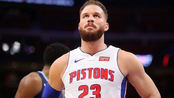 DETROIT, MICHIGAN - APRIL 09: Blake Griffin #23 of the Detroit Pistons looks on while playing the Memphis Grizzlies at Little Caesars Arena on April 09, 2019 in Detroit, Michigan. (Photo by Gregory Shamus/Getty Images)