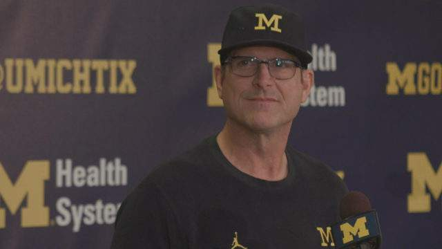 Michigan head coach Jim Harbaugh speaks at a press conference on Nov. 19, 2018, before the Ohio State game. (WDIV)