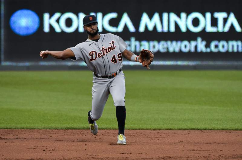 Shortstop Willi Castro #49 of the Detroit Tigers throws to first in the first inning against the Kansas City Royals at Kauffman Stadium on September 26, 2020 in Kansas City, Missouri.