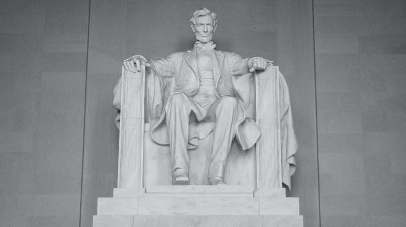 A photo of the statue of former U.S. President Abraham Lincoln at the Abraham Lincoln Memorial in Washington, D.C. Lincoln is known for abolishing slavery in 1863 by issuing the Emancipation Proclamation amid the Civil War.