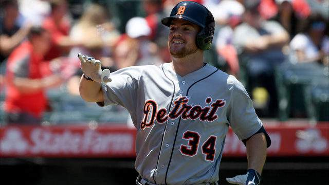 Jake Rogers #34 of the Detroit Tigers celebrates his solo homerun, to take a 1-0 lead, over the Los Angeles Angels during the third inning at Angel Stadium of Anaheim on July 31, 2019 in Anaheim, California. (Photo by Harry How/Getty Images)