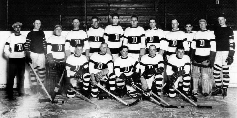 Team photo from Detroit's inaugural season (1926–27). The franchise was known as the Detroit Cougars from 1926 to 1930.