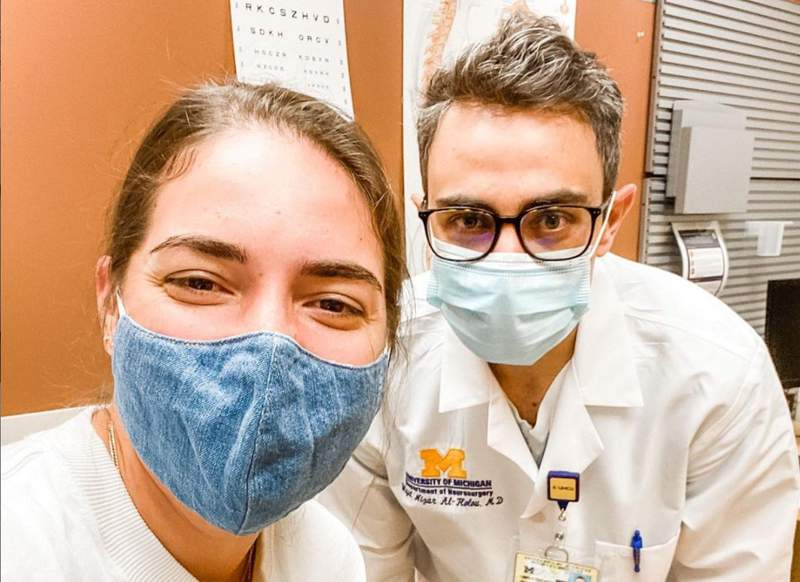 Christina Costa takes a picture with her neurosurgeon, Dr. Wajd Al-Holou ahead of her surgery in September 2020.