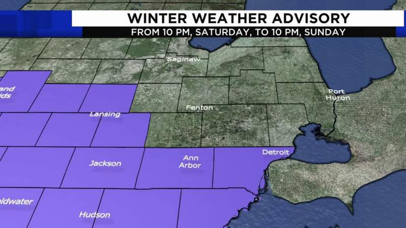 A Winter Weather Advisory is in effect for Michigan's Lenawee, Monroe, Washtenaw and Wayne counties from 10 p.m. on Saturday, Jan. 30 to 10 p.m. on Sunday, Jan. 31.