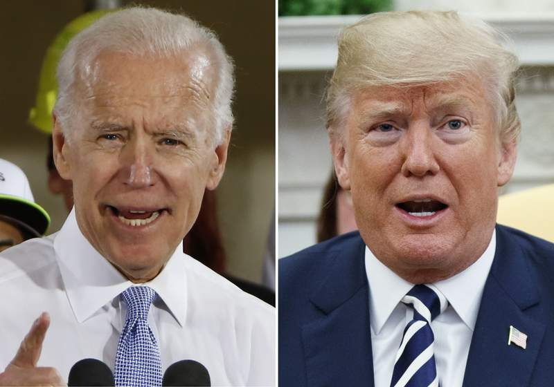 FILE - In this combination of file photos, former Vice President Joe Biden speaks in Collier, Pa., on March 6, 2018, and President Donald Trump speaks in the Oval Office of the White House in Washington on March 20, 2018. For a moment, West Virginia looked like it was going to be the only state in the country to allow betting on the presidential election. The short-lived play by bookmaker giant FanDuel was approved by the state lottery board. But it was announced and nixed within the span of about two hours Tuesday, April 7, 2020 in a bizarre sequence that appeared to baffle top government officials. Republican Gov. Jim Justice said it was ridiculous and he didn't know why the lottery commission would approve such a deal. (AP Photo)