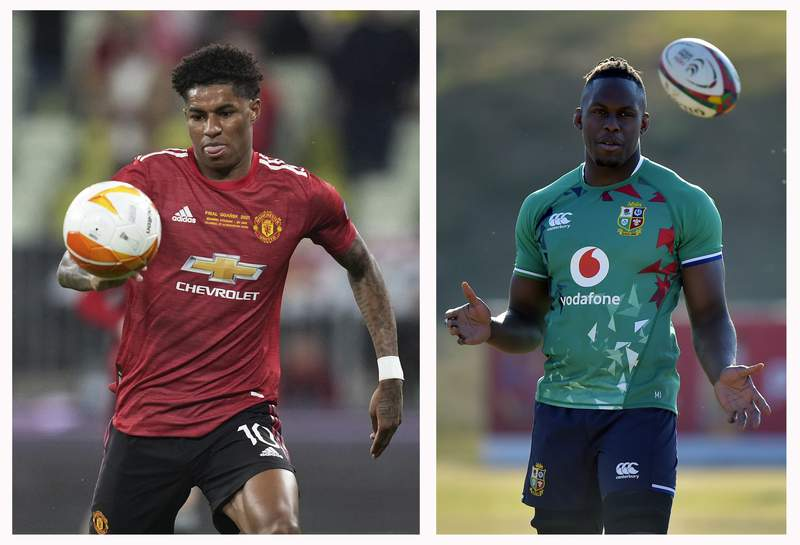 FILE - This combo of file photos shows at left, Manchester United's Marcus Rashford during the Europa League final soccer match between Manchester United and Villarreal in Gdansk, Poland, Wednesday, May 26, 2021 and at right, British and Irish Lions' lock Maro Itoje in a training session in Sandton, South Africa, Monday, July 5, 2021. Britain's education secretary said Wednesday Sept. 8, 2021, that he had made a genuine mistake by mixing up two Black sportsmen known for their efforts to demand more government help for poor children. (Michael Sohn, Pool/Christiaan Kotze, Pool, File)