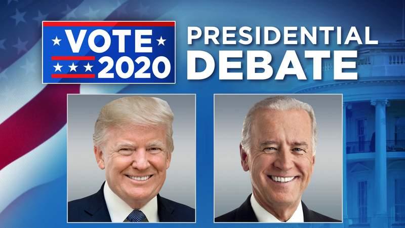 Presidential Debate graphic. Donald Trump and Joe Biden.