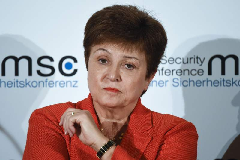 FILE - In this Feb. 14, 2020, file photo, Kristalina Georgieva, Managing Director of the International Monetary Fund, attends a session on the first day of the Munich Security Conference in Munich, Germany. Georgieva said that the global economy has started on a long climb to stronger growth with prospects looking a little better than four months ago. Georgieva said Tuesday, Oct. 6 that global economic activity suffered an unprecedented fall in the spring when 85% of the global economy was in lockdown for several weeks but currently the situation is less dire with many countries seeing better-than-expected rebounds in recent weeks (AP Photo/Jens Meyer, File)