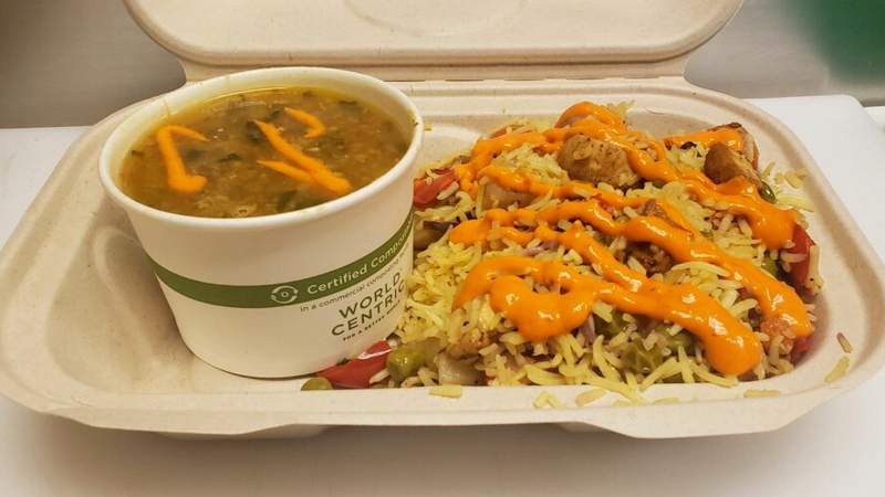 An example of the free meal that Hutkay Fusion will be giving away to help hungry community members.