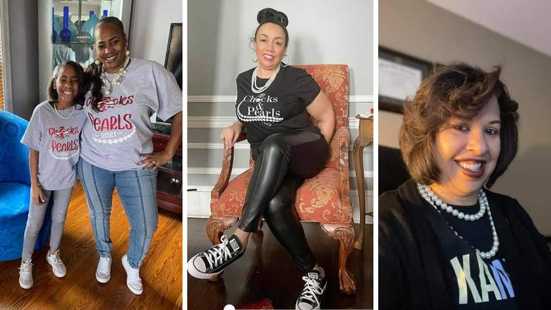 Local 4 viewers submitted photos of themselves wearing Kamala Harris' signature combination of Chuck Taylors and pearls while watching the historic Biden-Harris inauguration on Jan. 20.