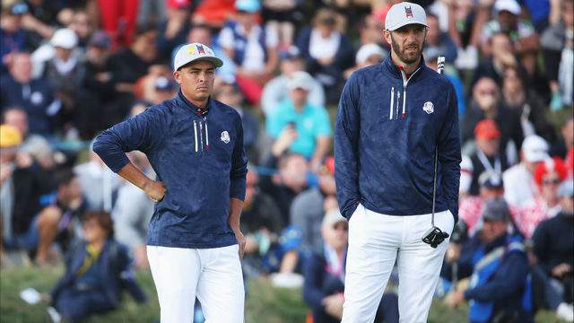 Rickie Fowler and Dustin Johnson during the afternoon foursome matches of the 2018 Ryder Cup at Le Golf National on Sept. 28, 2018, in Paris, France. (Christian Petersen/Getty Images)