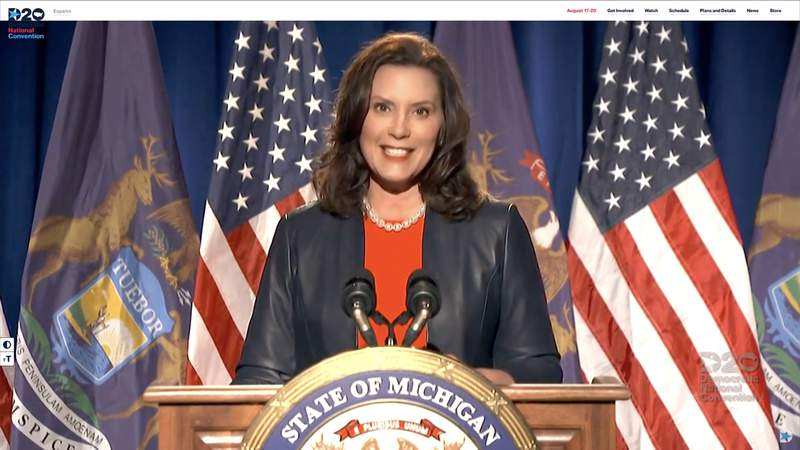MILWAUKEE, WI - AUGUST 17: In this screenshot from the DNCC's livestream of the 2020 Democratic National Convention, Michigan Gov. Gretchen Whitmer addresses the virtual convention on August 17, 2020.  The convention, which was once expected to draw 50,000 people to Milwaukee, Wisconsin, is now taking place virtually due to the coronavirus pandemic.  (Photo by DNCC via Getty Images)  (Photo by Handout/DNCC via Getty Images)