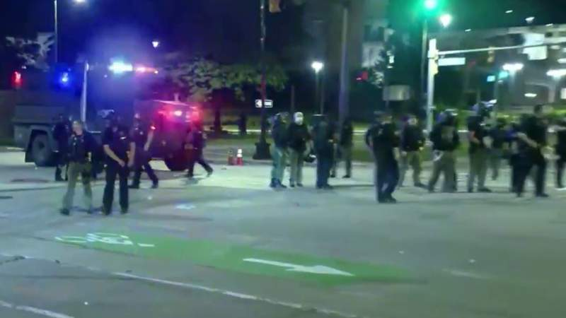 Police brutality protest in Downtown Detroit escalates