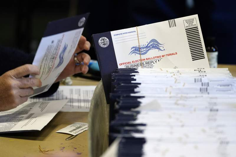 FILE - In this Nov. 4, 2020, file photo, Chester County, Pa. election workers process mail-in and absentee ballots at West Chester University in West Chester. Democrats plan to move quickly on one of the first bills of the new Congress, which would set federal election standards. The For the People Act would require states to offer early voting, same-day registration and the option of absentee voting for all registered voters. (AP Photo/Matt Slocum, File)