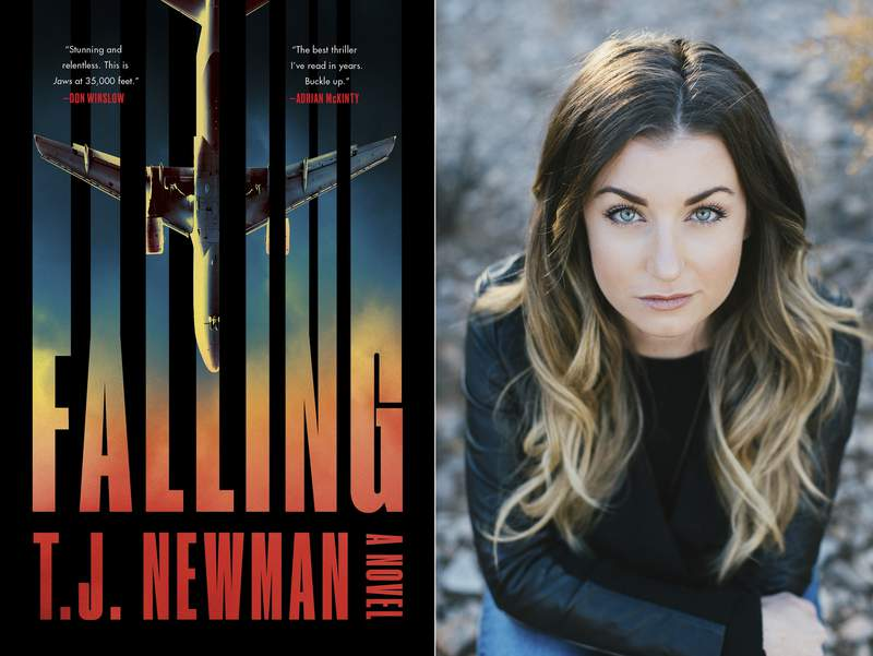 """This combination of photos shows the cover of """"Falling,"""" a novel by T.J. Newman, left, and a portrait of Newman. A former bookseller and flight attendant who conjured fictional nightmares during breaks on cross country red-eyes has a 7-figure deal for two novels. The Simon & Schuster imprint Avid Reader announced Thursday that Newmans first book, the thriller Falling, comes out in July. (Avid Reader Press, left, and Melissa Young via AP)"""