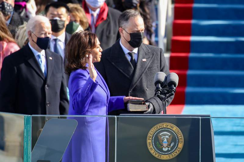 Kamala Harris is sworn is as U.S. Vice President at the inauguration of U.S. President-elect Joe Biden on the West Front of the U.S. Capitol on January 20, 2021 in Washington, DC. During today's inauguration ceremony Joe Biden becomes the 46th president of the United States. (Photo by Rob Carr/Getty Images)