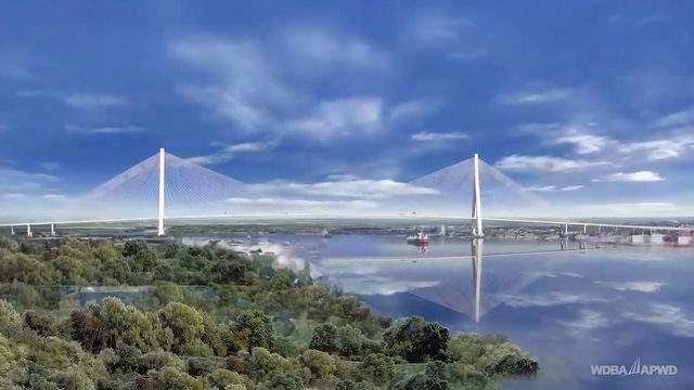 A rendering of the Gordie Howe International Bridge between Detroit, Mich. and Windsor, Ont. (WDBA -- WDIV)