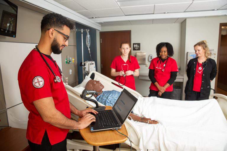 Nursing students gain experience in Concordia's sim lab in 2019.