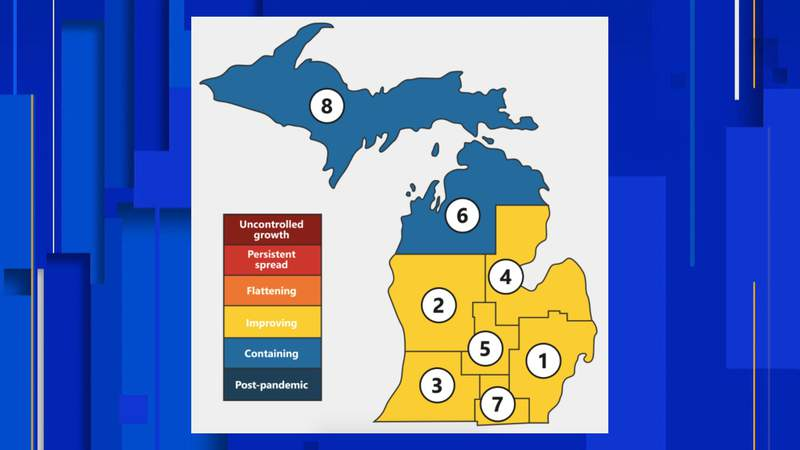 A map of how Michigan is broken down into regions in the Mi Safe Start Plan.