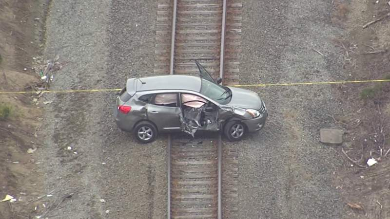 A vehicle involved in a June 25, 2021, crash involving a train on Detroit's east side.