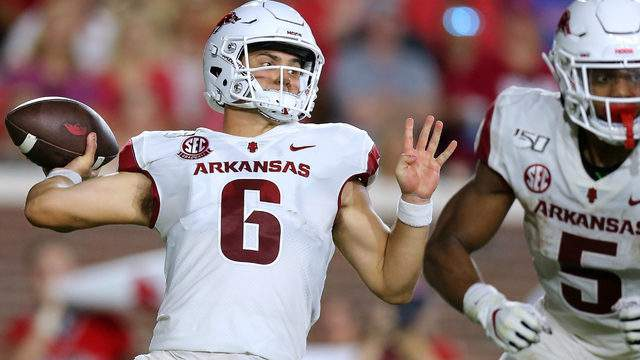 Ben Hicks #6 of the Arkansas Razorbacks throws the ball during the first half of a game against the Mississippi Rebels at Vaught-Hemingway Stadium on September 07, 2019 in Oxford, Mississippi. (Photo by Jonathan Bachman/Getty Images)