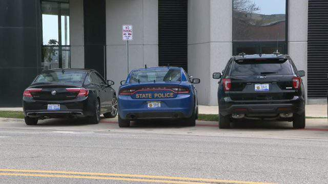 Michigan State Police raid the Macomb County Prosecutor's Office on April 17, 2019. (WDIV)