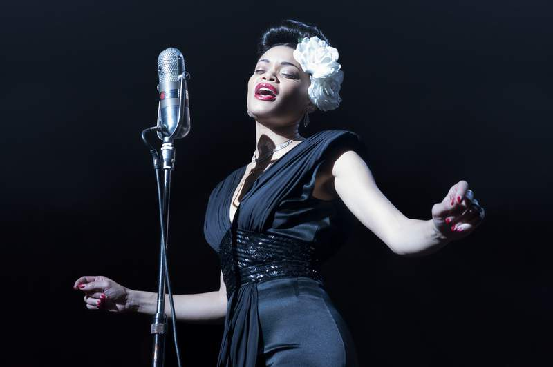 "This image released by Paramount Pictures shows Andra Day in ""The United States vs Billie Holiday.""  (Takashi Seida/Paramount Pictures via AP)"